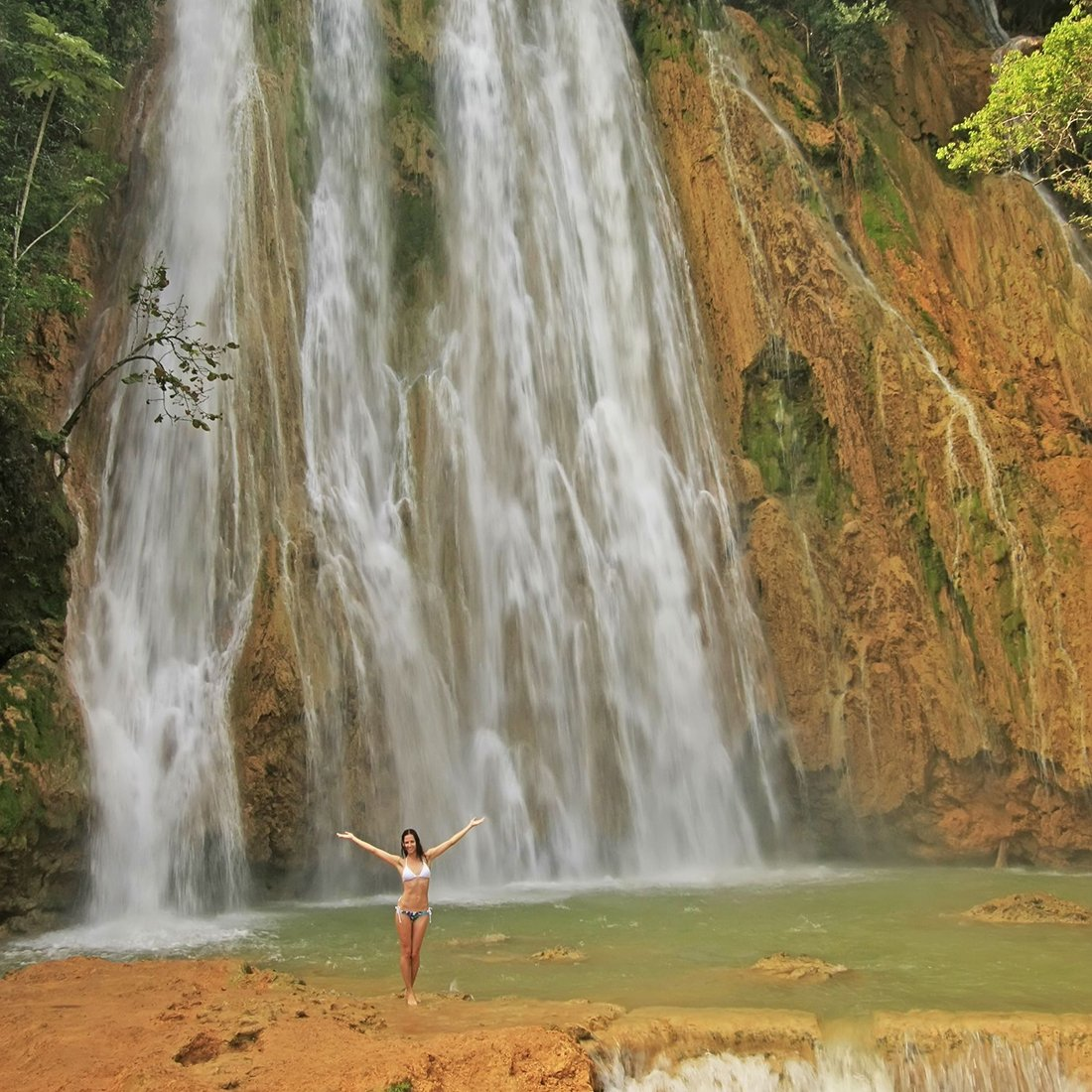 A girl at el limon waterfall